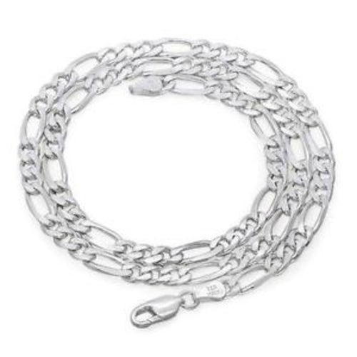 Stainless Steel White Gold 8mm 24 Inches Figaro necklace