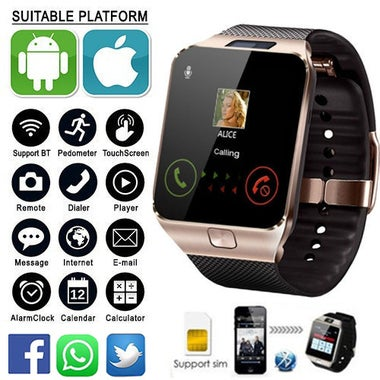 Bluetooth Smart Watch with Camera, Anti lost, Sim & 32GB-Support for iPhone Andr