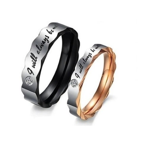 """'I will always be with you"""" couple ring set Steel both rings include it"""