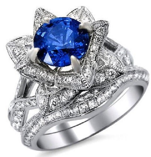 2.20ct Cushion Cut Blue CZ Lotus Flower Ring Bridal Set