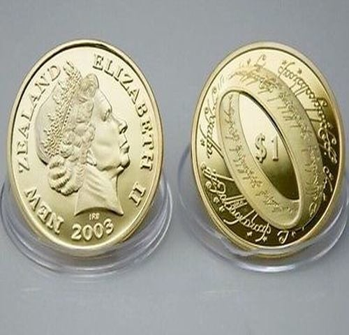 New Zealand $10.00 Copy - Lord of the Rings  .999 Gold Plated Commemorative Coin