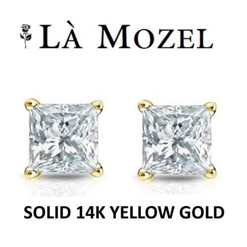 Solid 14K Yellow Gold Classic Elegant HandCrafted Princess Cut Stud Earrings Featuring Swarovski Elements- 3MM