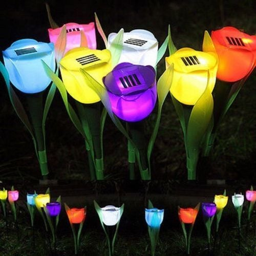It Is Necessary For Family Outdoor Solar Powered Tulip Flower LED Light Yard Garden Path Way Landscape Lamp