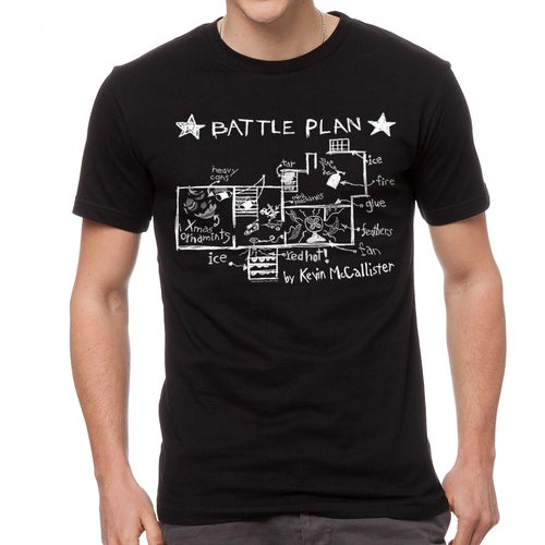 Home Alone Battle Plan By Kevin Men's Black T-shirt
