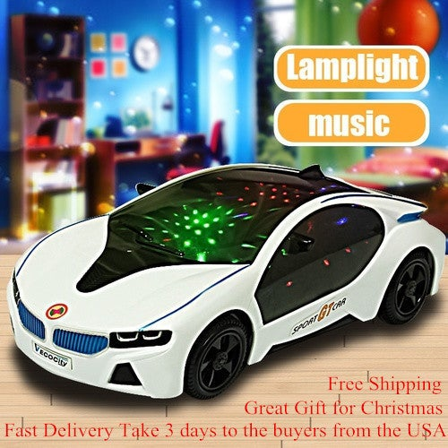 Free Shipping!!! Great Christmas Gift for Your Family and Friends!!! 3D LED Flashing Light Car Toys Music Sound Electric Toy Cars Kids Children Christmas Gift