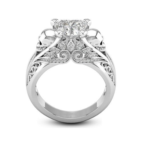White Gold Plated Heart-shaped Cubic Zircon Ring