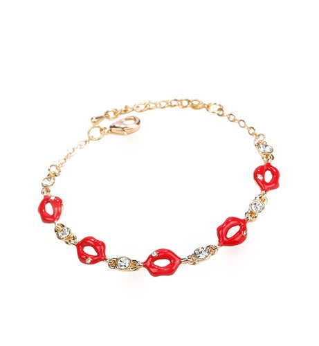 Lips Bracelet for Women Rose Gold Plated
