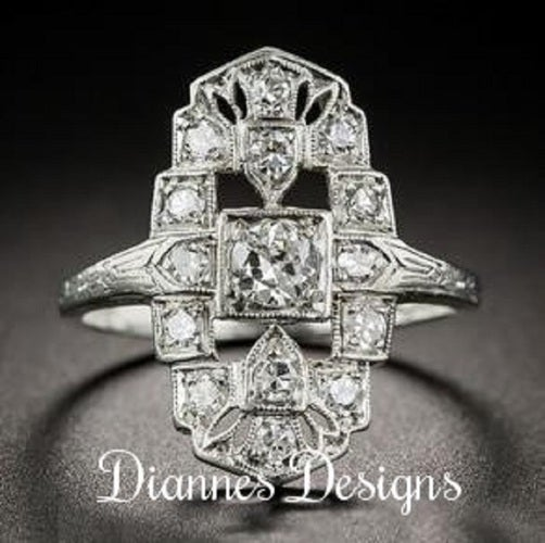 Vintage Inspired 1.75 Carat Ring 21x13mm By Diannes Designs