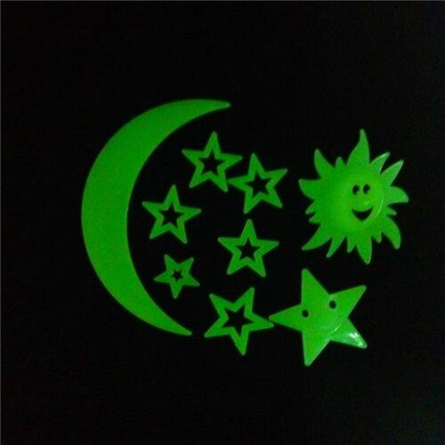 9PCS Sun Fluorescent Hot Cartoon Stars Wall Stickers