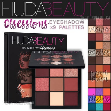 HUDA BEAUTY | Obsessions Eyeshadow Palette | Mauve, Smokey, Electric, Warm Brown