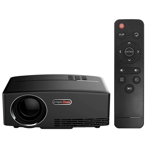 """GP80 LED Projector 1080P 1800 Lumens 800 * 480 Pixel 2200:1 Contrast Ratio US Plug Full Color 180"""" with HD-IN VGA AV USB Remote Controller for Notebook Laptop Tablet PC"""