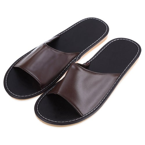 Haining Leather Slippers Lovers Home Furnishing Indoor Floor Classic Footwear(2 Color)