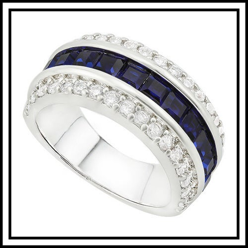 14k White Gold Filled, Beautifully Created Fine Blue & White Sapphire Ring