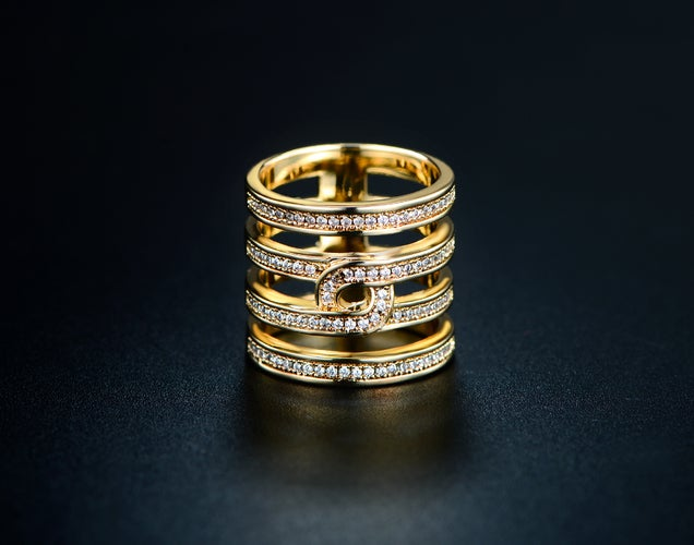 Yellow Gold Filled CZ Pave Eternity Ring