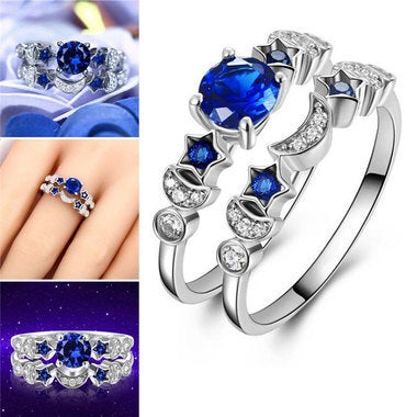 Moon & Star Romantic Finger Ring for Women Wedding Engagement Jewelry Gift Engra