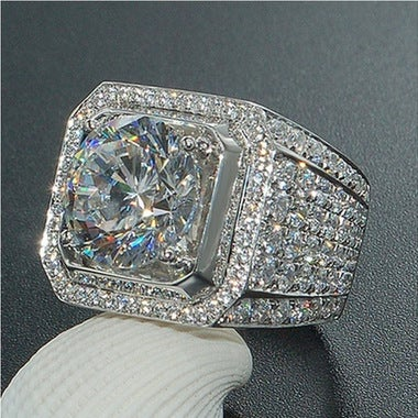 So Sparkling !  Handmade wedding Band ring for Men 3ct 5A Zircon cz 18K White Go