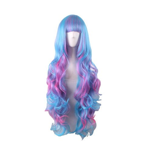 Europe and the new color gradient cosplay wig COS anime female Harajuku style long hair wig color