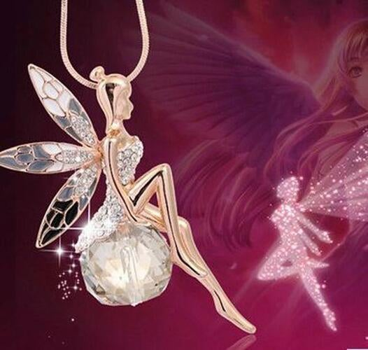 Christmas Exquisite Little Fairy On Genuine Clear AAA Zircon Ball Pendant Necklace In 925 Silver Plated
