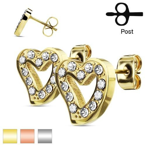 Pair of CZ Paved Hollow Heart Stainless Steel Stud Earrings