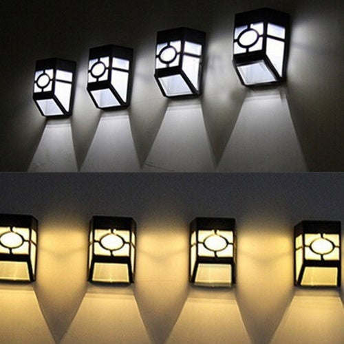 Light control human body sensors Solar Powered Wall Mount 2LED Lantern led solar light outdoor Landscape garden light lamp IP55