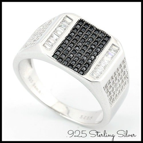 New 2017- Solid .925 Sterling Silver 0.75ct Beautifully Created White Sapphire & Onyx Ring
