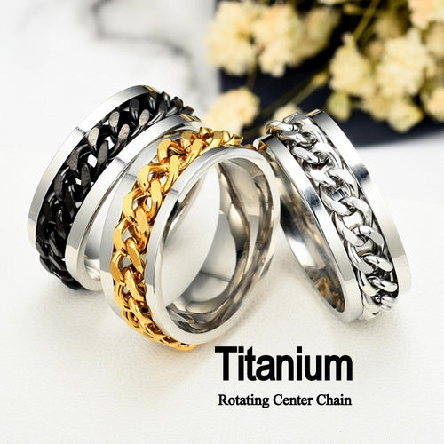 Ultra Luxury Men's  Polished Silver Titanium Steel Rotating Center Chain Ring