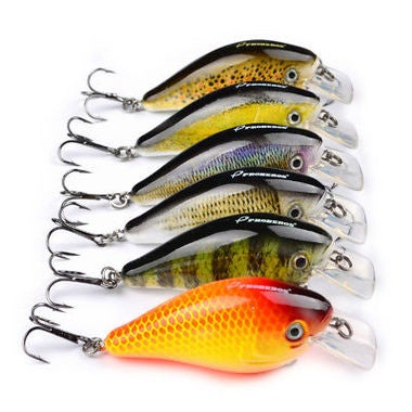 5-Pcs Hard Metal Fishing Lures Small Minnow Lure Bass Crank Bait Tackle Hooks