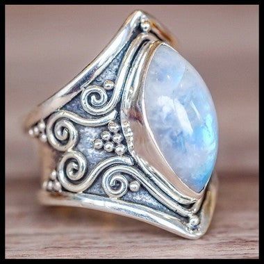 Large Antique Boho Jewelry Marquise Moonstone Personalized Ring Wedding Engageme