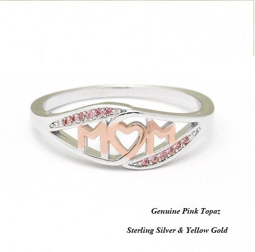 Genuine Pink Topaz w/Sterling Silver & Yellow Gold