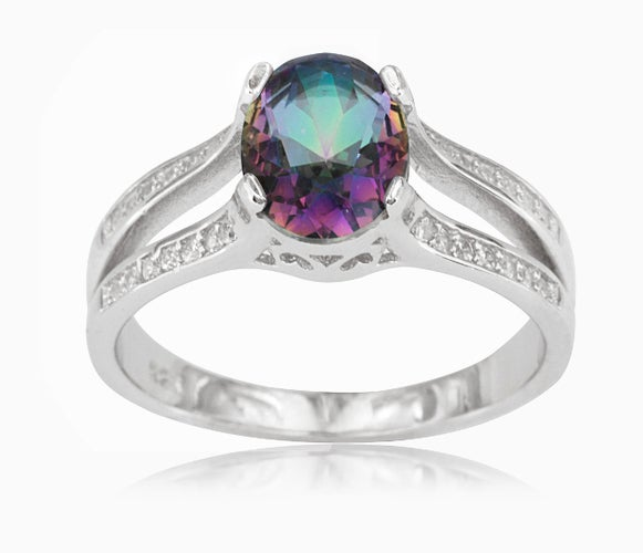 18K White Gold Plated Oval Mystic Topaz Ring