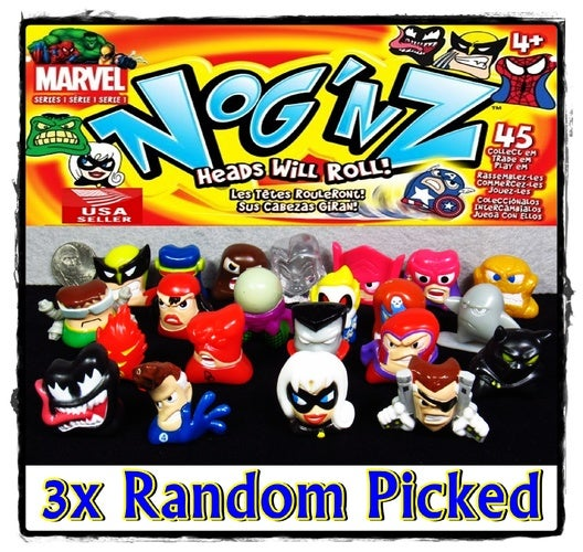 ~ 3x Random Picked ~ Marvel Nog'nz Series 1 Mini Game Figures - LOT of 3