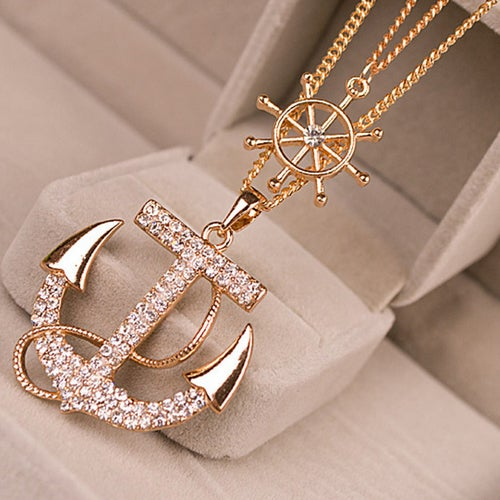 NK1 - Anchors Away Pendant Double Chain Necklace