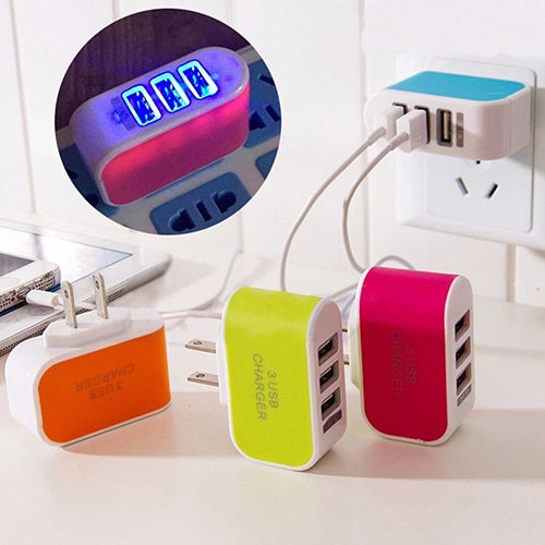 LED Triple USB Ports Portable Travel US Plug Home Wall Power Adapter Charger