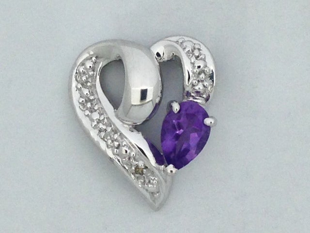 Natural Amethyst with Natural Diamond Heart Pendant 925 Sterling Silver