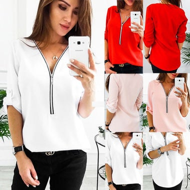 Women Sexy Deep V-neck  Loose Zipper Shirt Blouse