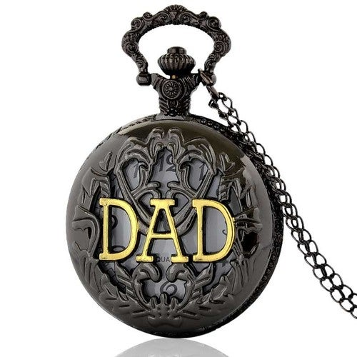 Black Retro Hollow Big Face Dial Pocket Watch DAD Gift Long Chain Watch