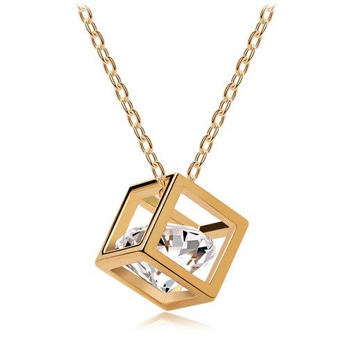 18kt Gold Plated Cube Solitaire Cz Stone Necklace