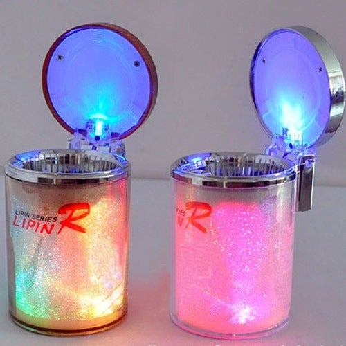 Plastic Movable LED Colorful Flashing Light Car Cigarette Ash Holder Cup Ashtray Smoking Tool Silver Tone Office Home Car Use