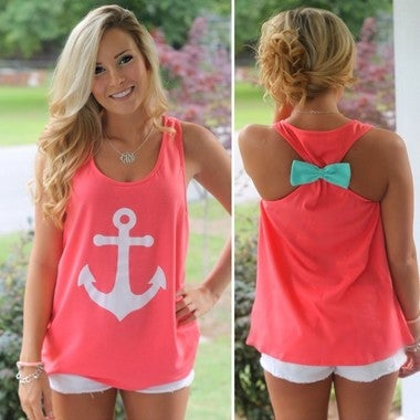 Fashion Anchor Fancy Sleeveless Tee Shirt Bowknot Summer Simple Vest Sexy Top T-