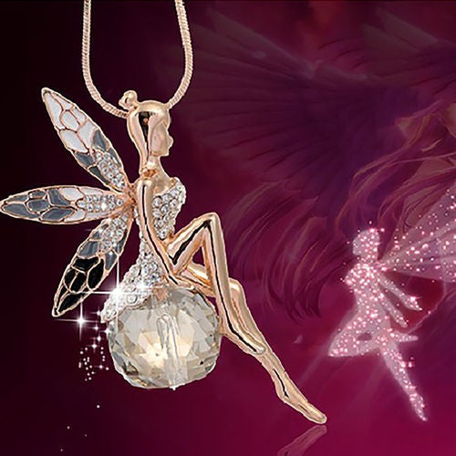Crystal Fairy Angel Wing Pendant Long Gold Plated Chain Sweater Necklace