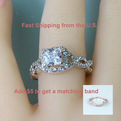 Luxury Princess Cut AAA CZ Women Engagement/ Wedding/Promise Ring #904
