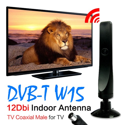 12dBi TV Amplified Indoor Digital TV Aerial Antenna For DVB-T TV HDTV Digital Freeview with TV Coaxial Male connector