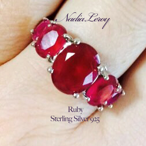 Luxurious 5 pcs Ruby Sterling Silver 925 Ring