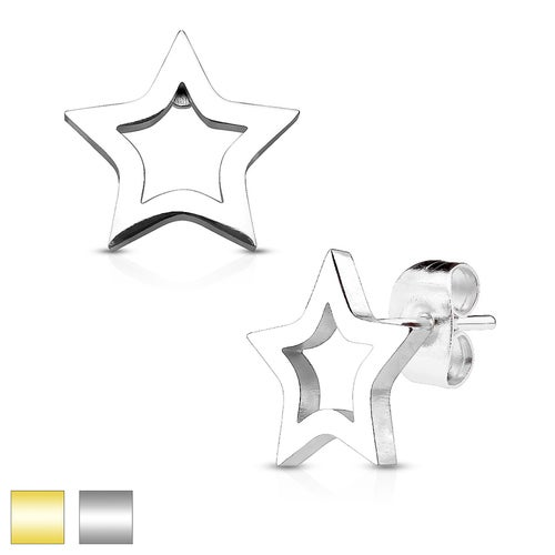 Hollow Star 316L Stainless Steel Earring Studs Pair