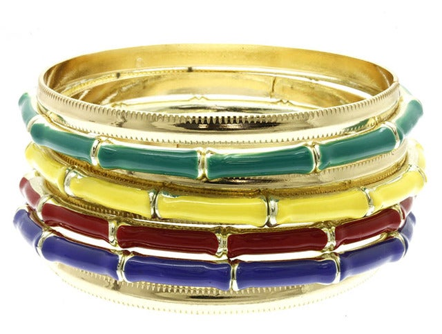 2pc Bangle set Choose from Black & Gold Tone, Yellow and Gold Tone, Red and God Tone