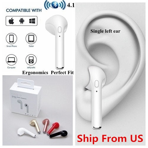 Ship From US Mini i7 Earbud In-Ear Wireless Earphone Sport Bluetooth Stereo Headset For iPhone Samsung