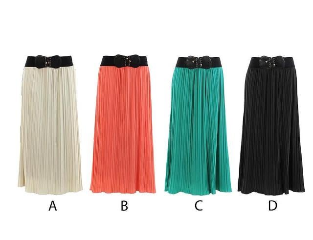 Solid Crincle Long Skirt Your choice of color