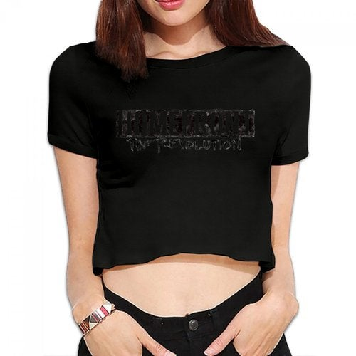 Homefront The Revolution HTR Logo Women's Bare Midriff Sexy T-Shirts Midriff-baring Crop Top Shirt