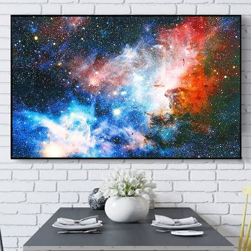 Unframed 43x24 inch Space Galaxy Universe Planet Poster Fabric Silk Painting Wall Print Art Home Decor US Shipping