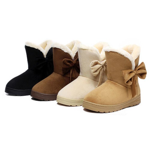 Cyber Monday Women Winter Sweet Snow Boots Slip on Ankle Boot Bow Comfy Warm Shoes Size 5-9.5